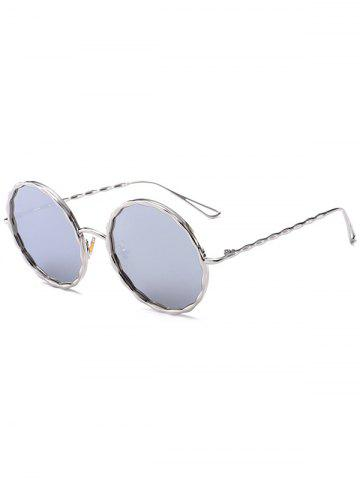 Chic Round Hollow Out Leg Wavy Metal Frame Sunglasses - SLIVER FRAME+MERCURY LENS  Mobile