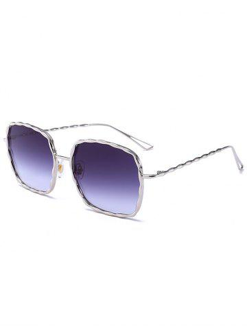 Ombre Wavy Rectangle Metallic Frame Sunglasses - Silver Frame+dark Brown Lens