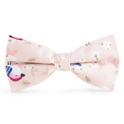 Unique Floral Bird Printed Bow Tie - PINK  Mobile
