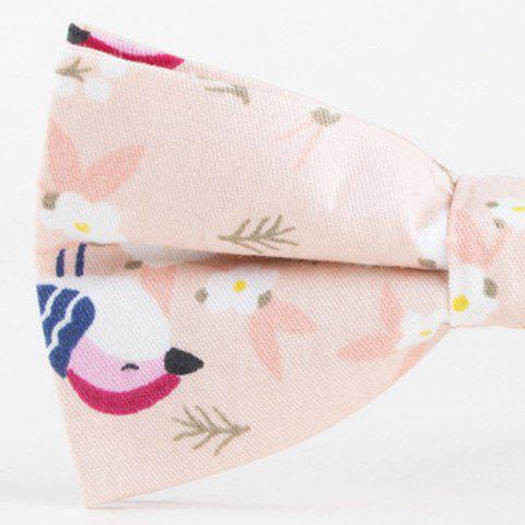 Fashion Floral Bird Printed Bow Tie - PINK  Mobile