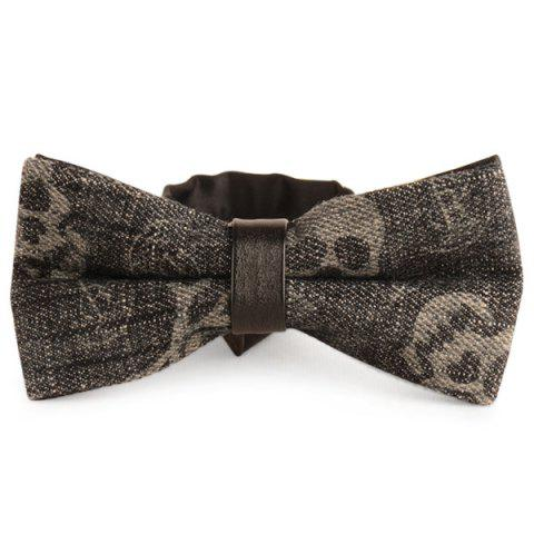 Nostalgic Skull Printing Denim Layered Bow Tie - Smoky Gray