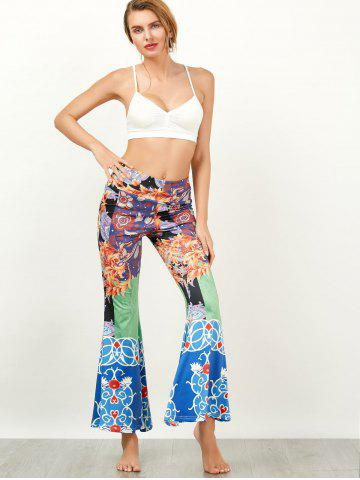 Unique Baroque Print High Waisted Flared Pants - XL COLORMIX Mobile