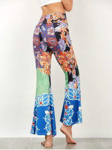 Buy Baroque Print High Waisted Flared Pants - XL COLORMIX Mobile