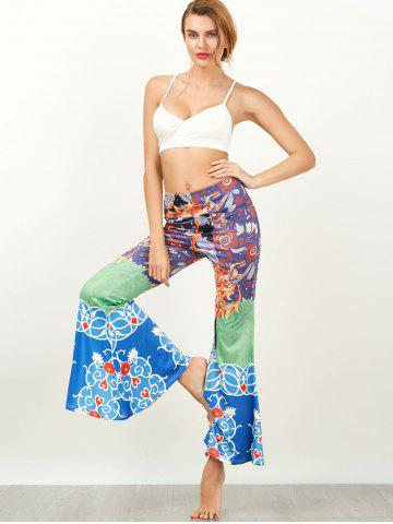 Fashion Baroque Print High Waisted Flared Pants - XL COLORMIX Mobile
