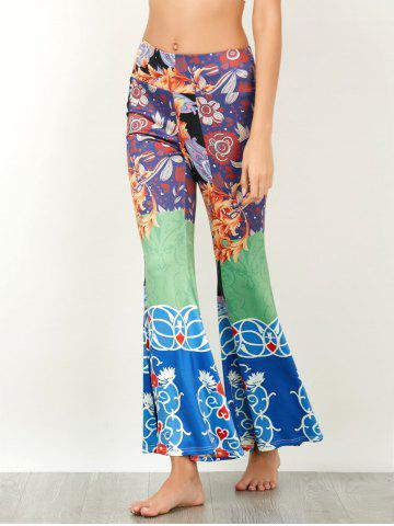 New Baroque Print High Waisted Flared Pants - XL COLORMIX Mobile
