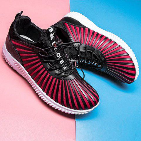 Fashion Breathable Stripes Athletic Shoes - 40 RED WITH BLACK Mobile