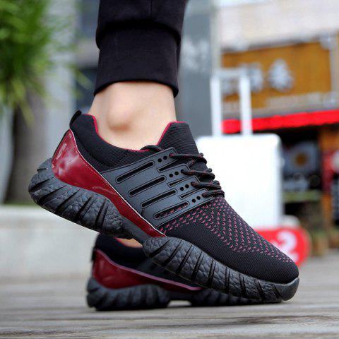 Buy Breathable Color Block Athletic Shoes BLACK RED 43