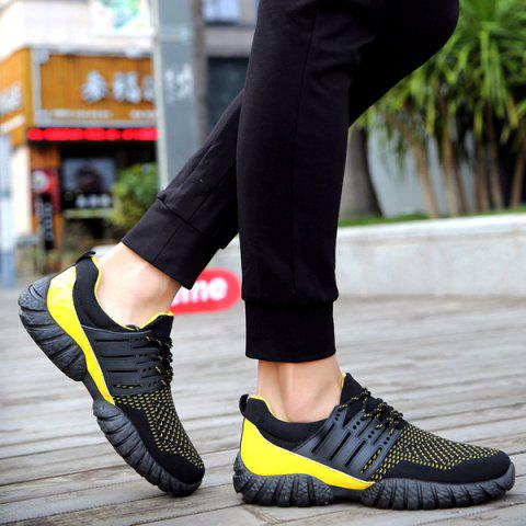 Fancy Breathable Color Block Athletic Shoes - 43 YELLOW AND BLACK Mobile
