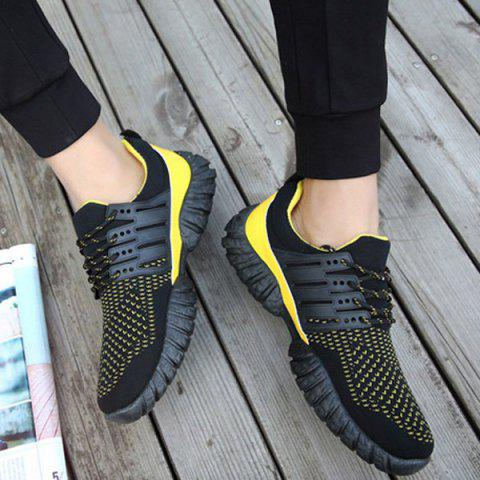 Latest Breathable Color Block Athletic Shoes - 40 YELLOW AND BLACK Mobile