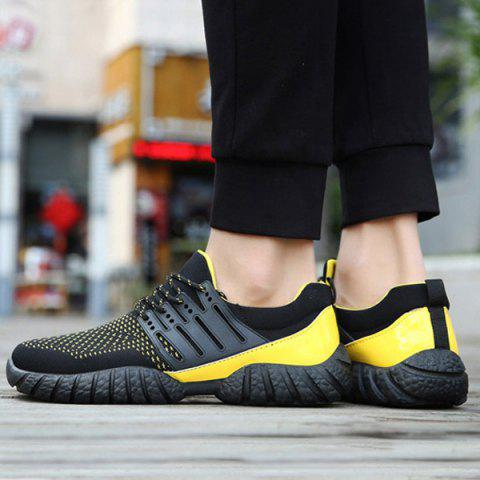 Outfits Breathable Color Block Athletic Shoes - 40 YELLOW AND BLACK Mobile