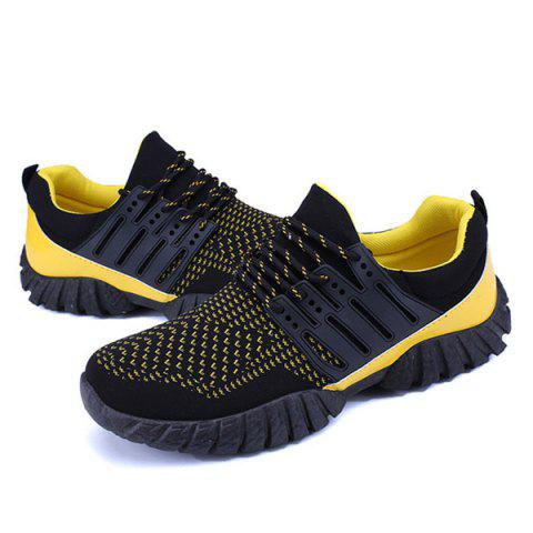 Cheap Breathable Color Block Athletic Shoes - 40 YELLOW AND BLACK Mobile