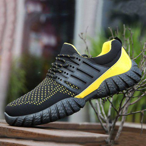 New Breathable Color Block Athletic Shoes - 40 YELLOW AND BLACK Mobile
