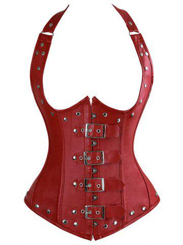 Halter Lace-Up Faux Leather Corset Top - Red - S