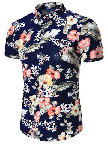 Sale Short Sleeves Plus Size Floral Print Shirt