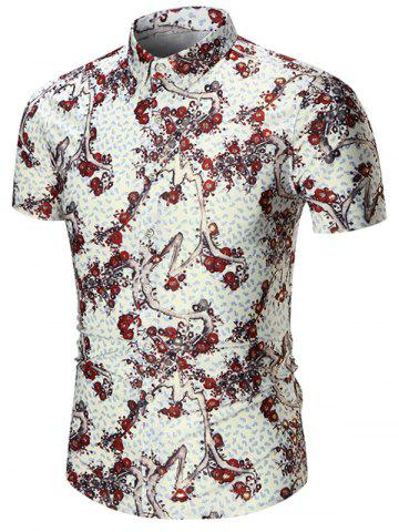 Affordable Plus Size Branch Print Shirt - 7XL RED Mobile