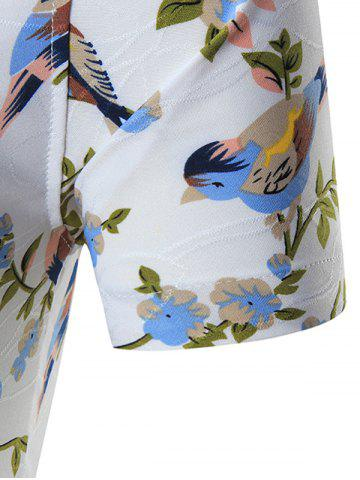 Affordable Plus Size Birds Printed Shirt - 7XL WHITE Mobile