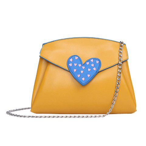 Chain Heart Pattern Crossbody Bag - Yellow