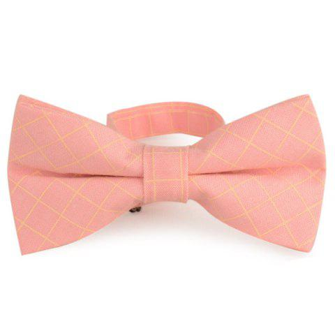 Cotton Blending Plaid Bow Tie - Light Pink - L