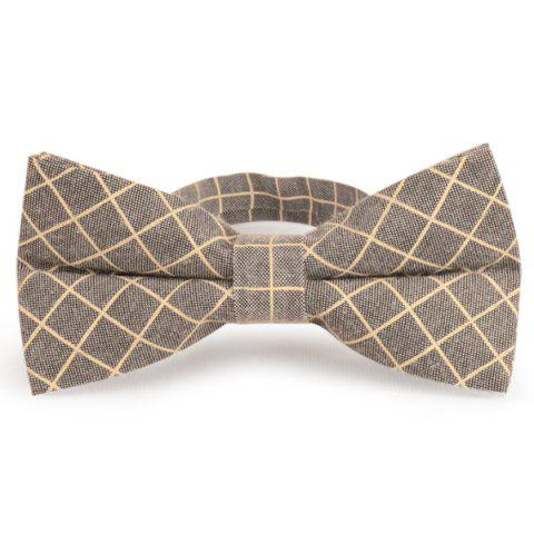 Cotton Blending Plaid Bow Tie - Gray