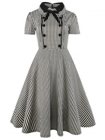 Vintage Bowknot Button Plaid Fit et Flare Dress Carré M