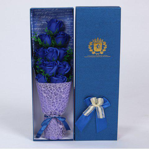 Outfits 11 PCS Handmade Soap Rose Mother's Day Gift Artificial Flowers BLUE
