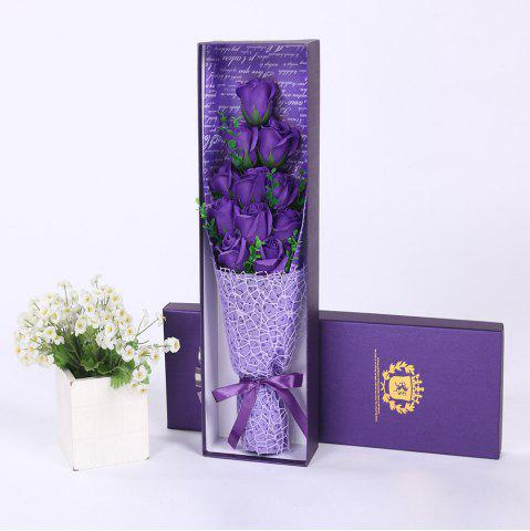 Discount 11 PCS Handmade Soap Rose Mother's Day Gift Artificial Flowers - PURPLE  Mobile