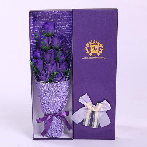Chic 11 PCS Handmade Soap Rose Mother's Day Gift Artificial Flowers - PURPLE  Mobile