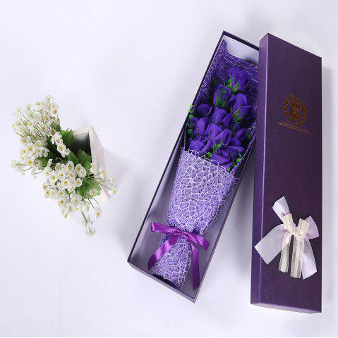 Hot 11 PCS Handmade Soap Rose Mother's Day Gift Artificial Flowers - PURPLE  Mobile