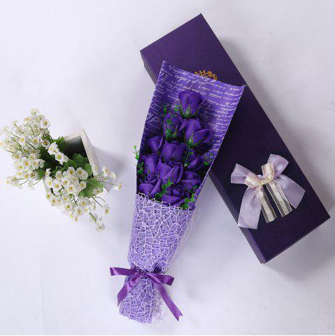 Outfits 11 PCS Handmade Soap Rose Mother's Day Gift Artificial Flowers - PURPLE  Mobile