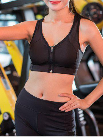 Outfits Wireless Zip Up Padded Sports Bra - S BLACK Mobile