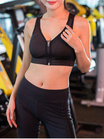 Fashion Wireless Zip Up Padded Sports Bra - M BLACK Mobile