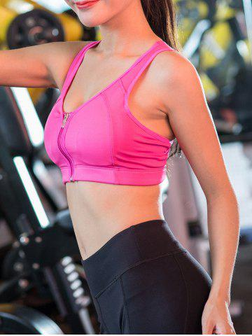 Trendy Wireless Zip Up Padded Sports Bra - M ROSE RED Mobile