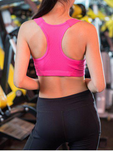 Hot Wireless Zip Up Padded Sports Bra - S ROSE RED Mobile