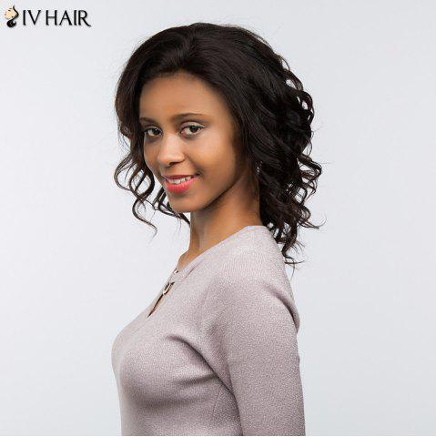 Outfits Siv Hair Dyed Perm Medium Body Wave Lace Front Free Part Human Hair Wig - 10INCH BLACK Mobile