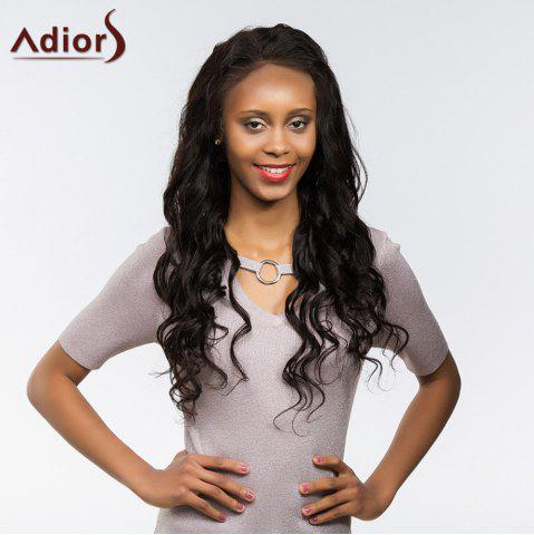 Outfits Adiors Long Dyed Perm Body Wave Free Part Lace Front Synthetic Wig - 22INCH BLACK Mobile