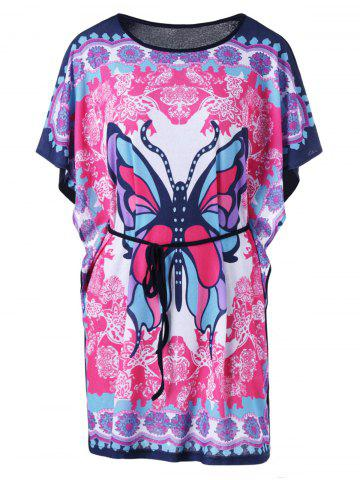 Butterfly Print Tie Belt Butterfly Sleeve T-Shirt - Colormix - M