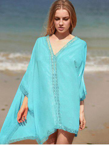 Fancy V Neck Batwing Boho Style Dress - ONE SIZE(FIT SIZE XS TO M) LIGHT GREEN Mobile