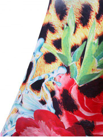 Online Beading Decorated Sleeveless Leopard and Floral T-Shirt - 2XL COLORMIX Mobile