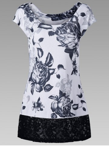 Outfit Lace Hem Floral Tee - 2XL WHITE AND BLACK Mobile