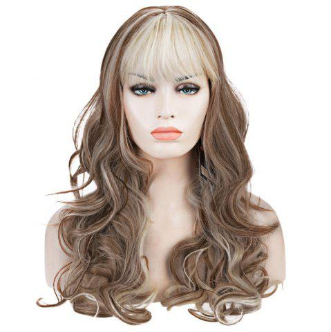Fashion Western Style Kanekalon Side Bang Fluffy Mixed Color Long Deep Wavy Women's Synthetic Wig