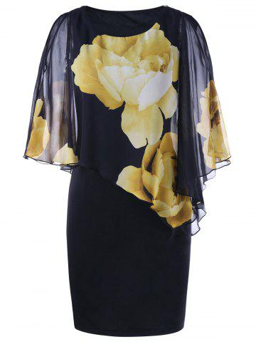 Sale Tight Floral Slit Sleeve Capelet Dress BLACK 2XL