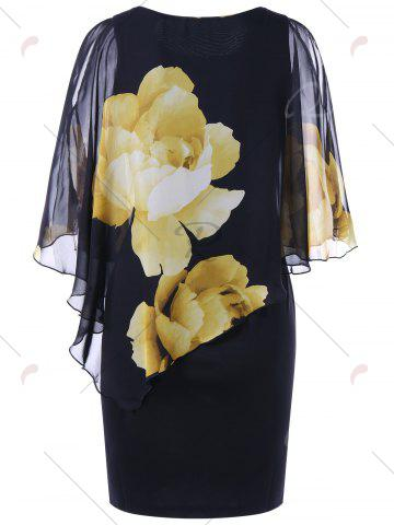 Chic Tight Floral Slit Sleeve Capelet Dress - 2XL BLACK Mobile