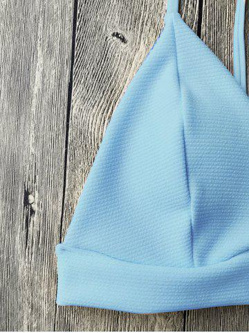 Affordable Cami Plunge Bikini Top and Bottoms - LIGHT BLUE S Mobile