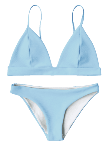 Discount Cami Plunge Bikini Top and Bottoms - LIGHT BLUE S Mobile