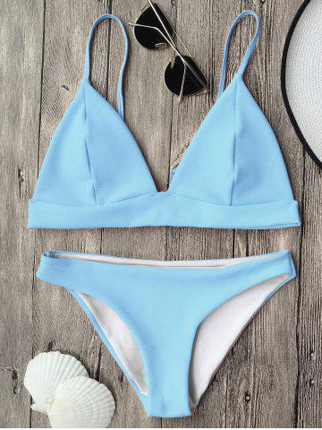 Unique Cami Plunge Bikini Top and Bottoms - LIGHT BLUE S Mobile