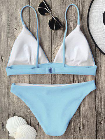 Chic Cami Plunge Bikini Top and Bottoms - LIGHT BLUE S Mobile