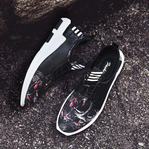 Chic Faux Leather Striped Athletic Shoes - 40 BLACK RED Mobile