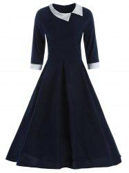 Contrast Collar Tea Length Vintage Swing Dress - CADETBLUE