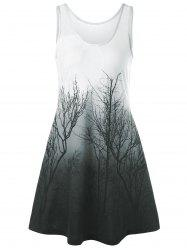 Night Scene Tree Printed Mini Tank Dress - GREEN GREY