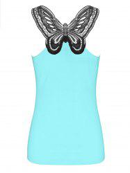 Cutwork Lace Trim Butterfly Pattern Tank Top - CYAN